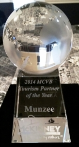The 2014 Tourism Partner of the Year Award was presented to Munzee by the McKinney CVB on Jan. 30, 2015.
